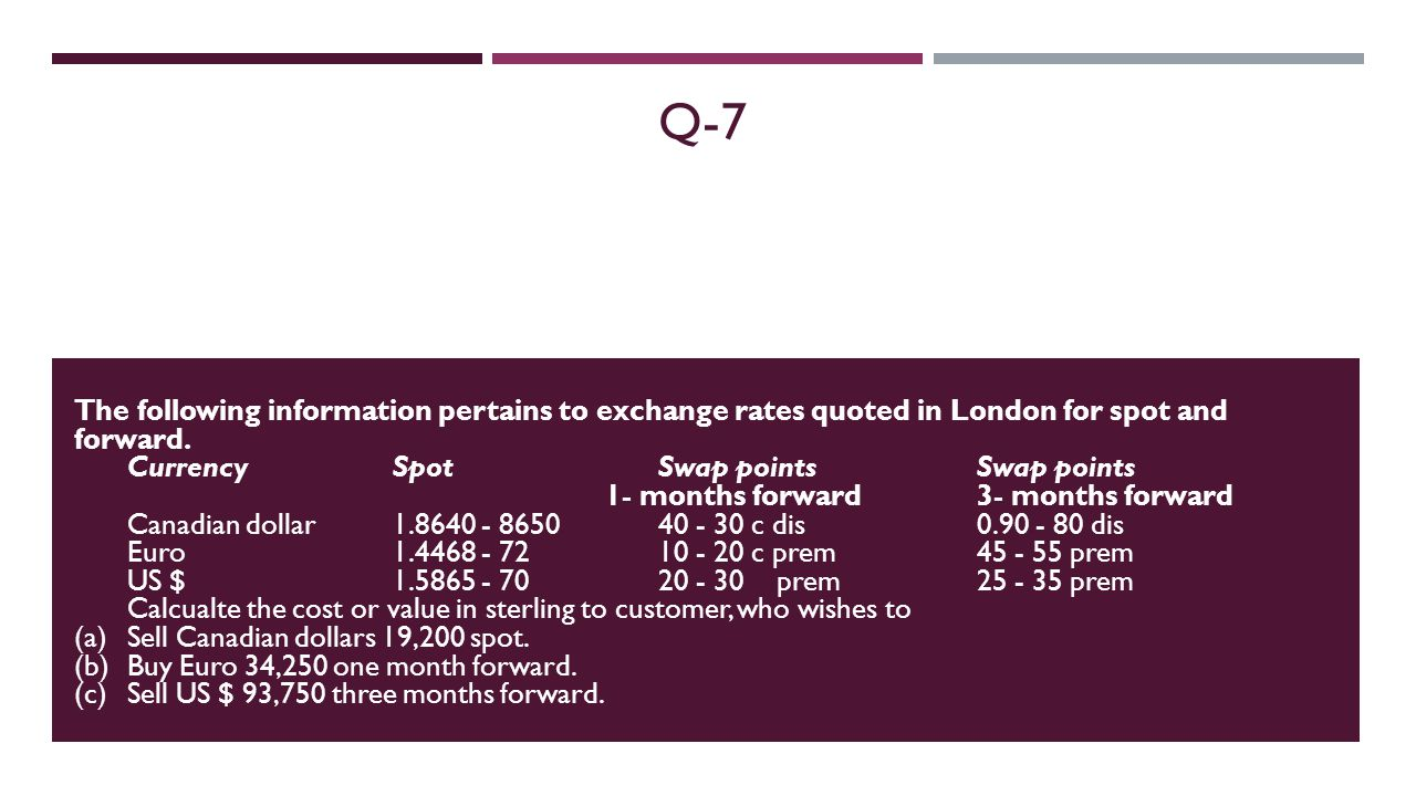 Q-7 The following information pertains to exchange rates quoted in London for spot and forward.