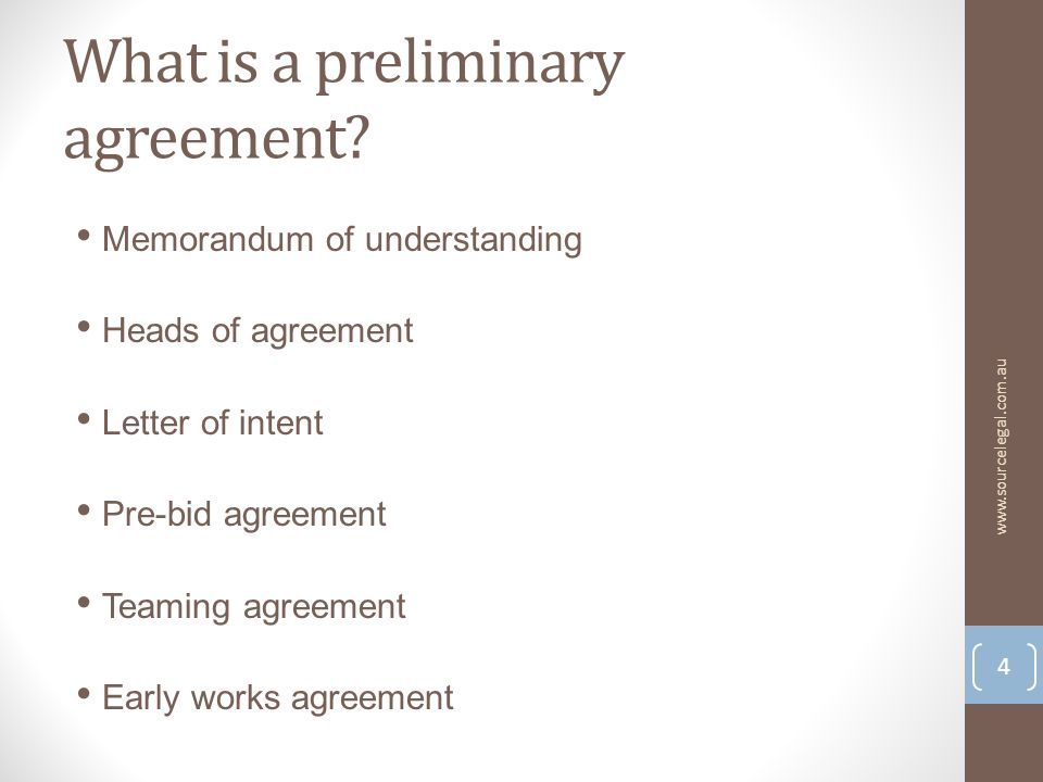 What is a preliminary agreement.