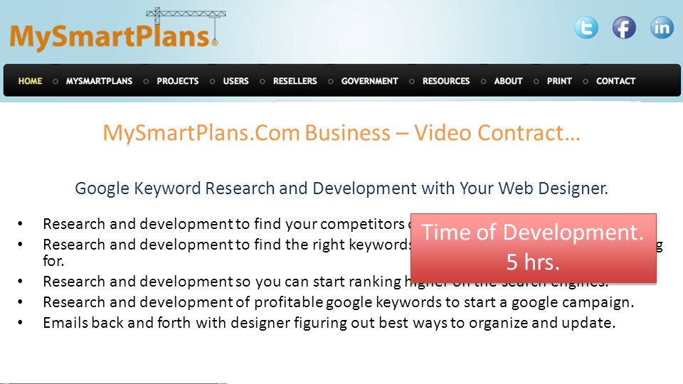 MySmartPlans.Com Business – Video Contract… Google Keyword Research and Development with Your Web Designer.