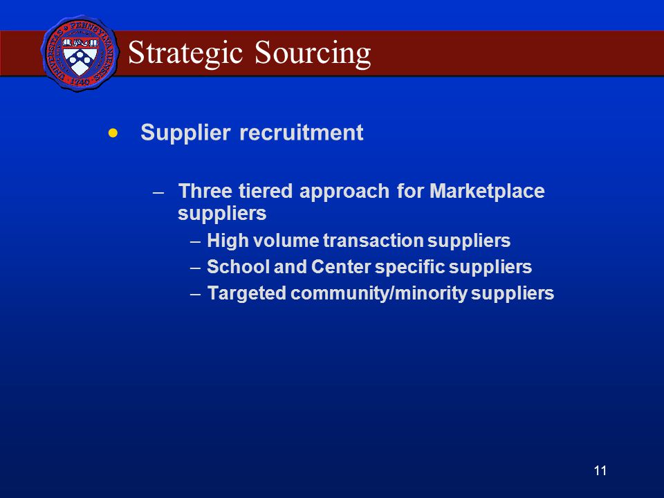 11 Strategic Sourcing Supplier recruitment –Three tiered approach for Marketplace suppliers –High volume transaction suppliers –School and Center specific suppliers –Targeted community/minority suppliers