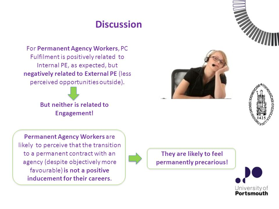 Discussion Permanent Agency Workers are likely to perceive that the transition to a permanent contract with an agency (despite objectively more favourable) is not a positive inducement for their careers.