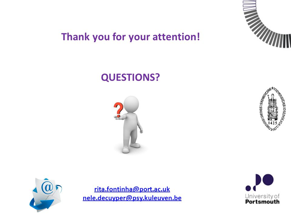 Thank you for your attention! QUESTIONS rita.fontinha@port.ac.uk nele.decuyper@psy.kuleuven.be