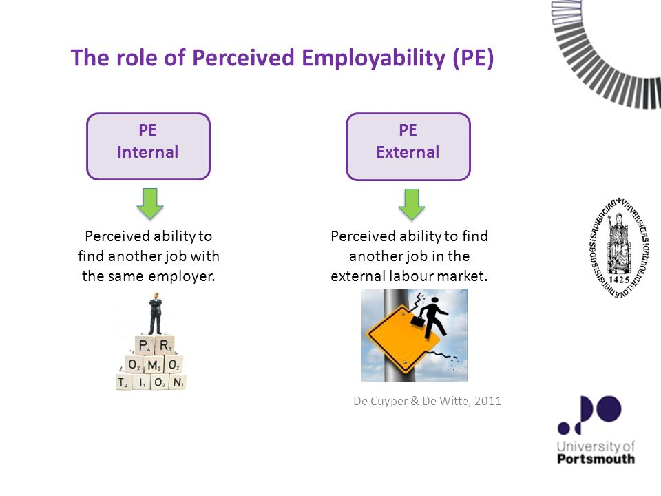 The role of Perceived Employability (PE) PE External PE Internal Perceived ability to find another job with the same employer.