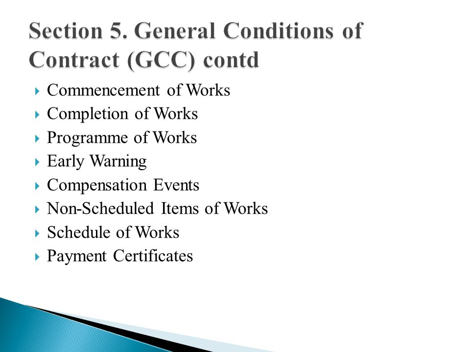 Commencement of Works Completion of Works Programme of Works Early Warning Compensation Events Non-Scheduled Items of Works Schedule of Works Payment Certificates