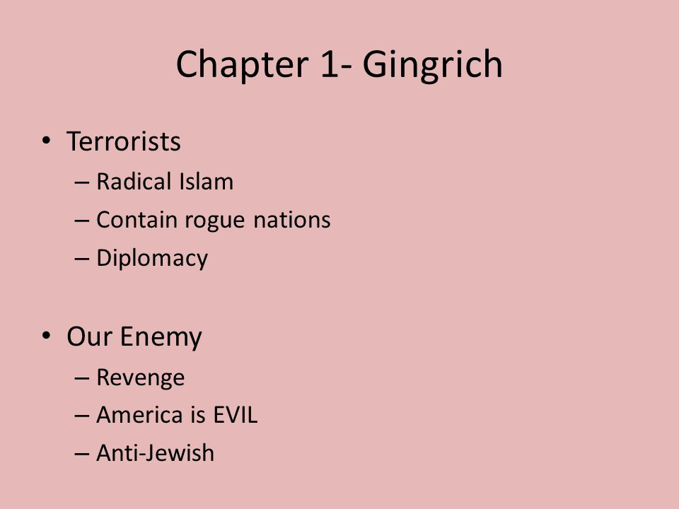 Chapter 1- Gingrich Terrorists – Radical Islam – Contain rogue nations – Diplomacy Our Enemy – Revenge – America is EVIL – Anti-Jewish
