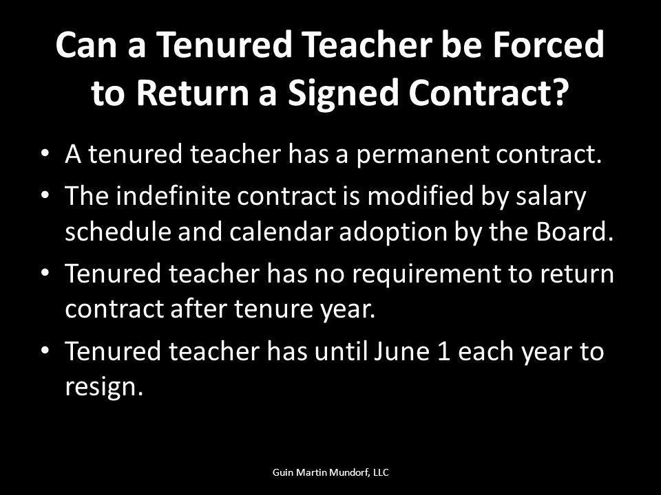 Can a Tenured Teacher be Forced to Return a Signed Contract.