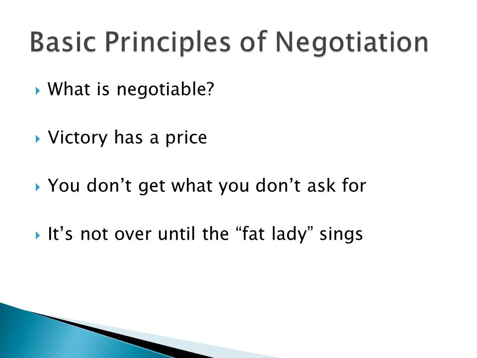 What is negotiable.