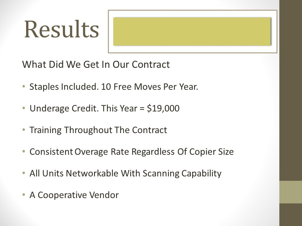 Results What Did We Get In Our Contract Staples Included.