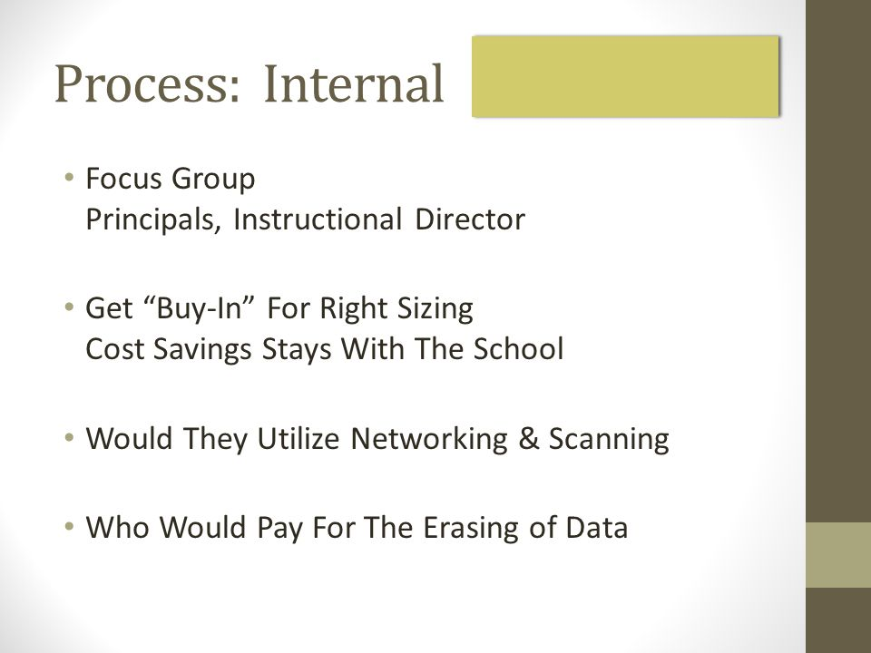 Process: Internal Focus Group Principals, Instructional Director Get Buy-In For Right Sizing Cost Savings Stays With The School Would They Utilize Networking & Scanning Who Would Pay For The Erasing of Data