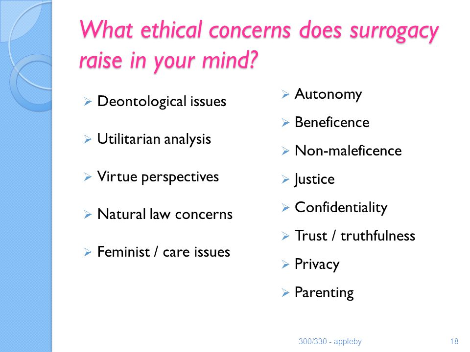 What ethical concerns does surrogacy raise in your mind.