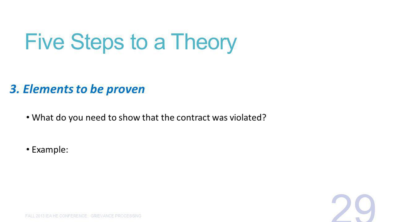 Five Steps to a Theory What do you need to show that the contract was violated.