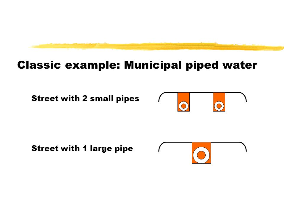 Classic example: Municipal piped water Street with 2 small pipes Street with 1 large pipe