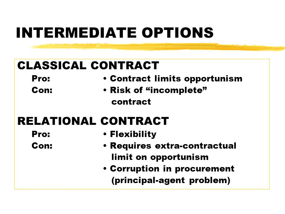 INTERMEDIATE OPTIONS CLASSICAL CONTRACT Pro: Contract limits opportunism Con: Risk of incomplete contract RELATIONAL CONTRACT Pro: Flexibility Con: Requires extra-contractual limit on opportunism Corruption in procurement (principal-agent problem)