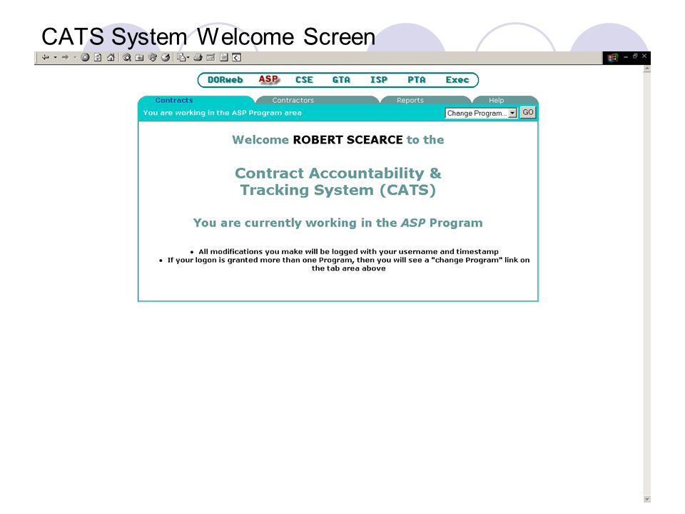 CATS System Welcome Screen  Program Access and Authority