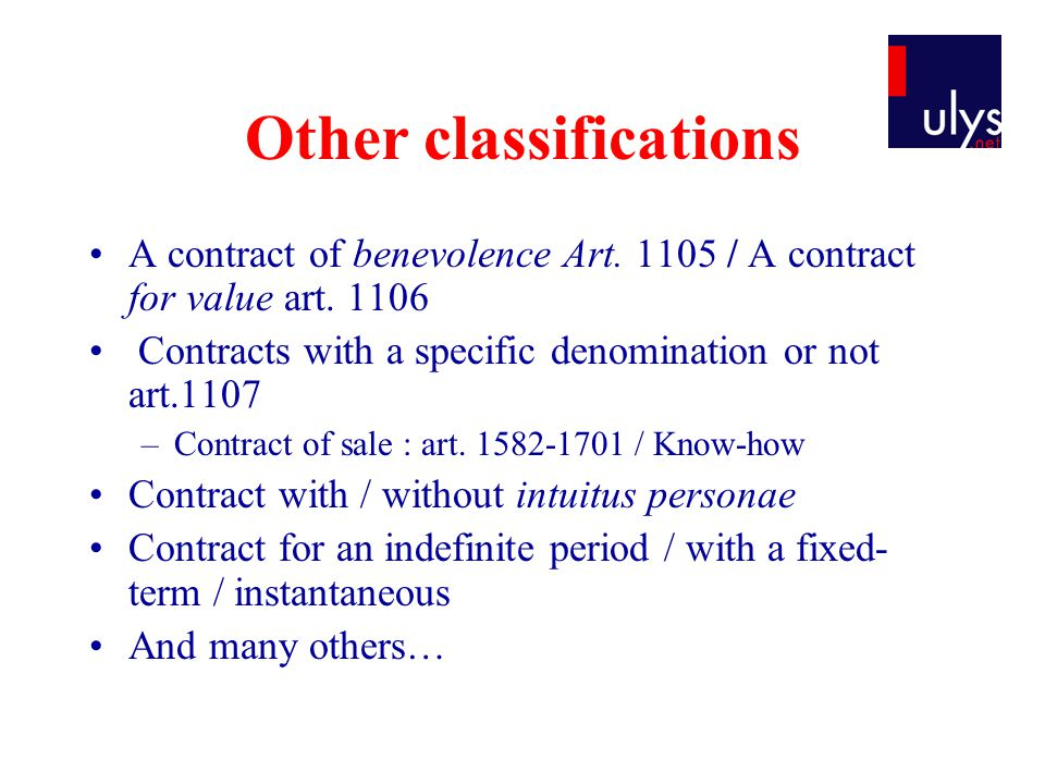 Other classifications A contract of benevolence Art.