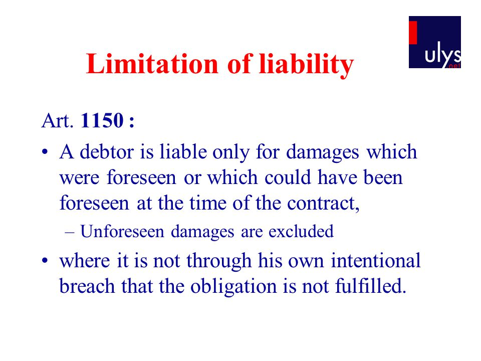Limitation of liability Art.
