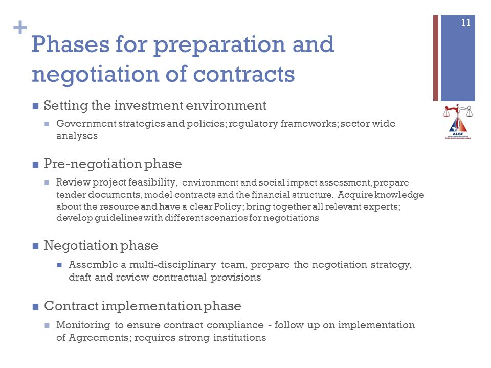 + Phases for preparation and negotiation of contracts Setting the investment environment Government strategies and policies; regulatory frameworks; sector wide analyses Pre-negotiation phase Review project feasibility, environment and social impact assessment, prepare tender documents, model contracts and the financial structure.
