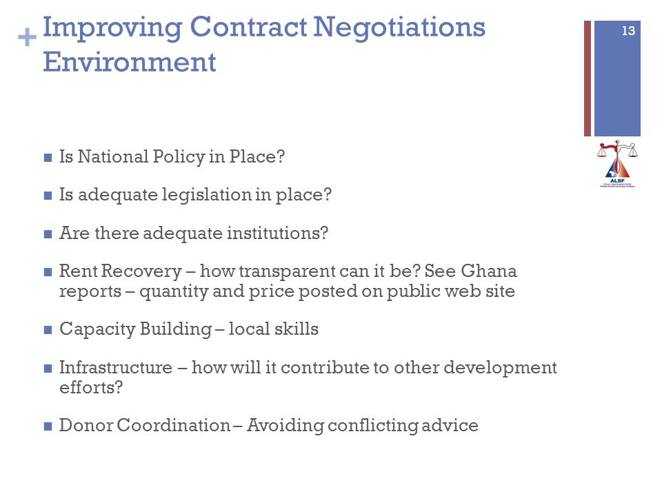 + 13 Improving Contract Negotiations Environment Is National Policy in Place.