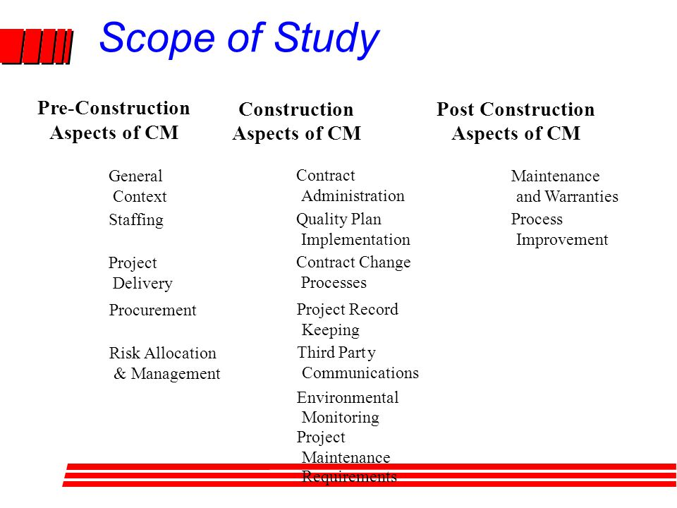 Scope of Study Maintenance and Warranties Process Improvement Construction Aspects of CM Post Construction Aspects of CM Pre-Construction Aspects of CM General Context Project Delivery Staffing Procurement Risk Allocation & Management Contract Administration Contract Change Processes Quality Plan Implementation Project Record Keeping Environmental Monitoring Third Party Communications Project Maintenance Requirements