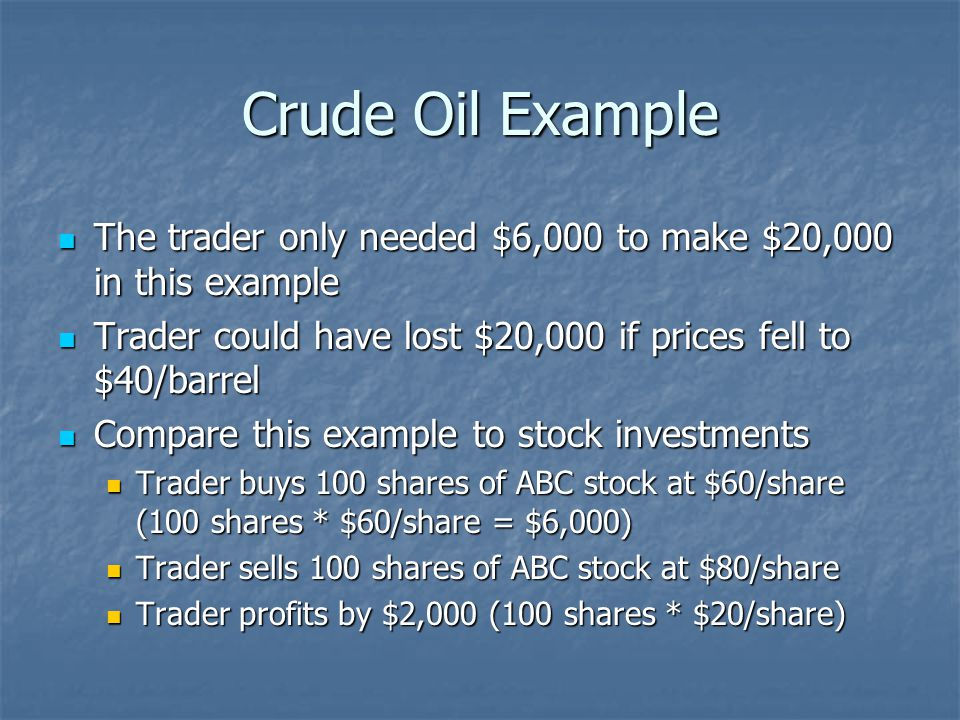 Crude Oil Example The trader only needed $6,000 to make $20,000 in this example The trader only needed $6,000 to make $20,000 in this example Trader could have lost $20,000 if prices fell to $40/barrel Trader could have lost $20,000 if prices fell to $40/barrel Compare this example to stock investments Compare this example to stock investments Trader buys 100 shares of ABC stock at $60/share (100 shares * $60/share = $6,000) Trader buys 100 shares of ABC stock at $60/share (100 shares * $60/share = $6,000) Trader sells 100 shares of ABC stock at $80/share Trader sells 100 shares of ABC stock at $80/share Trader profits by $2,000 (100 shares * $20/share) Trader profits by $2,000 (100 shares * $20/share)