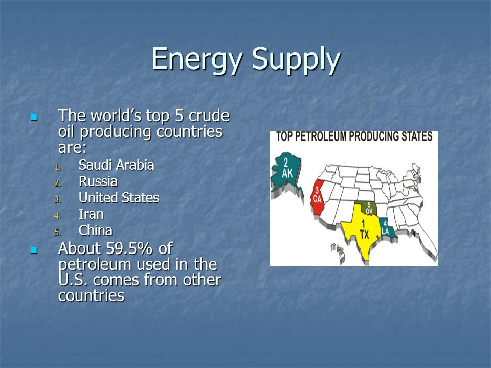 Energy Supply The worlds top 5 crude oil producing countries are: The worlds top 5 crude oil producing countries are: 1.