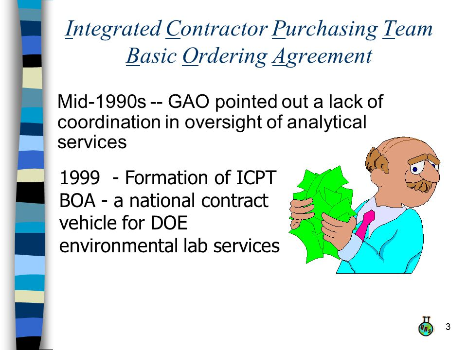 3 Integrated Contractor Purchasing Team Basic Ordering Agreement Mid-1990s -- GAO pointed out a lack of coordination in oversight of analytical services 1999 - Formation of ICPT BOA - a national contract vehicle for DOE environmental lab services