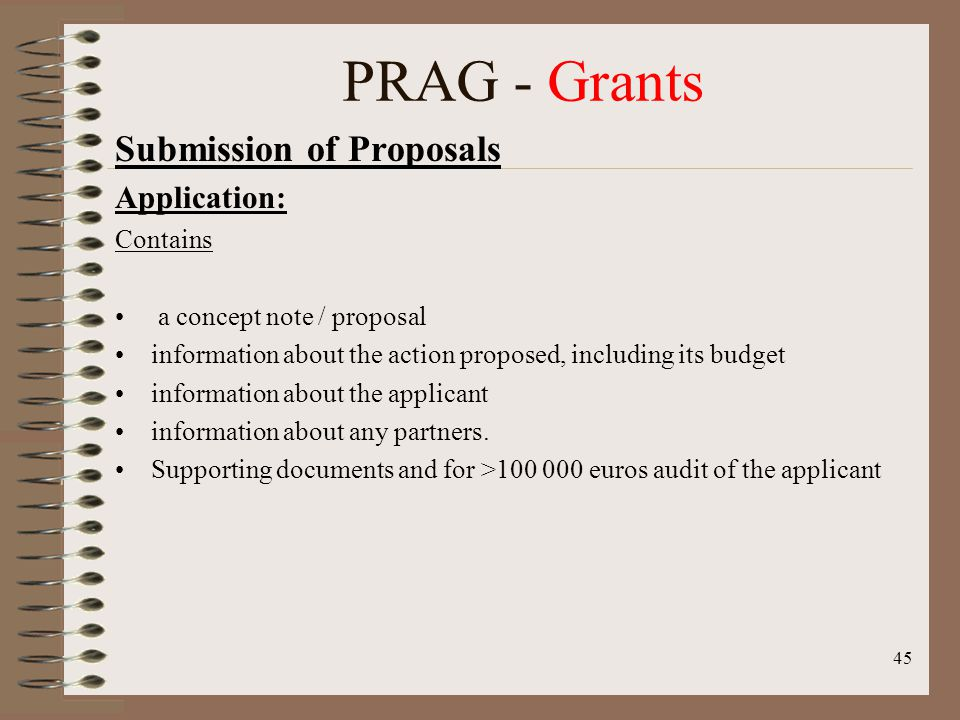 Submission of Proposals Application: Contains a concept note / proposal information about the action proposed, including its budget information about the applicant information about any partners.