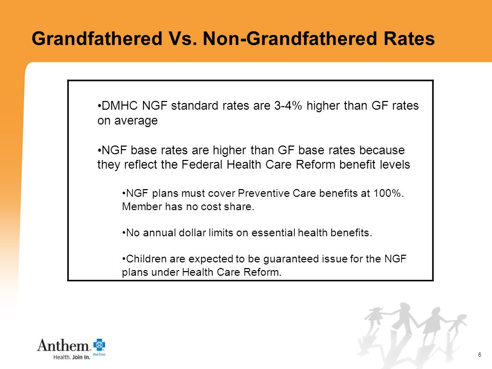 6 DMHC NGF standard rates are 3-4% higher than GF rates on average NGF base rates are higher than GF base rates because they reflect the Federal Health Care Reform benefit levels NGF plans must cover Preventive Care benefits at 100%.