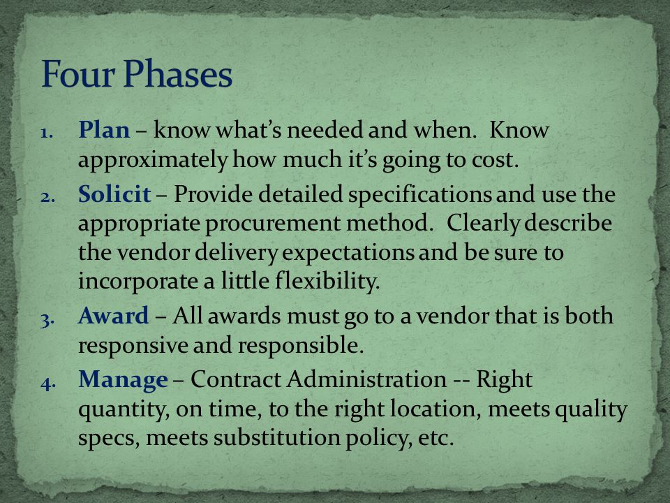 1. Plan – know whats needed and when. Know approximately how much its going to cost.