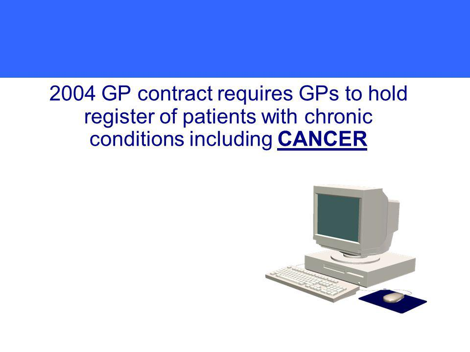 2004 GP contract requires GPs to hold register of patients with chronic conditions including CANCER