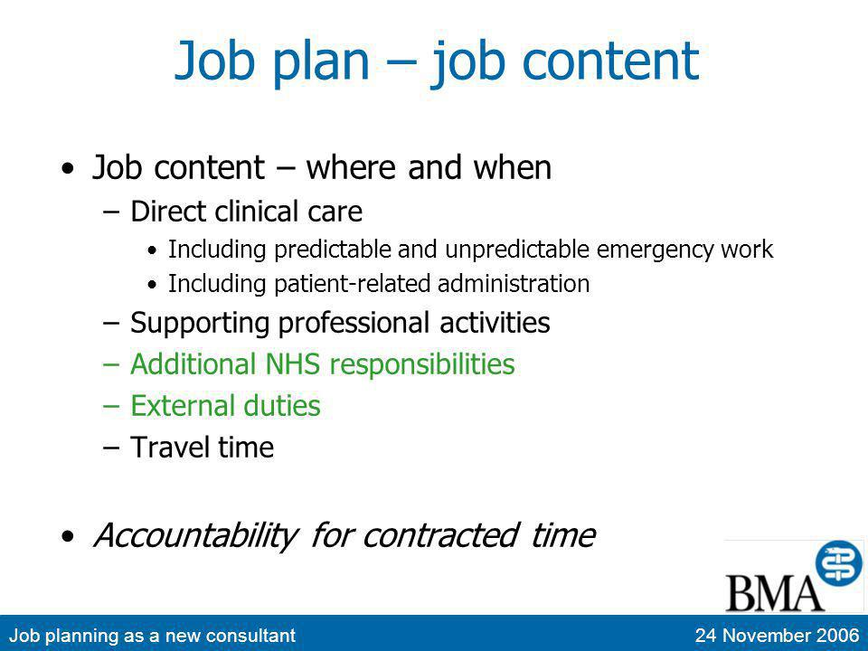 Job planning as a new consultant24 November 2006 Job plan – job content Job content – where and when –Direct clinical care Including predictable and unpredictable emergency work Including patient-related administration –Supporting professional activities –Additional NHS responsibilities –External duties –Travel time Accountability for contracted time