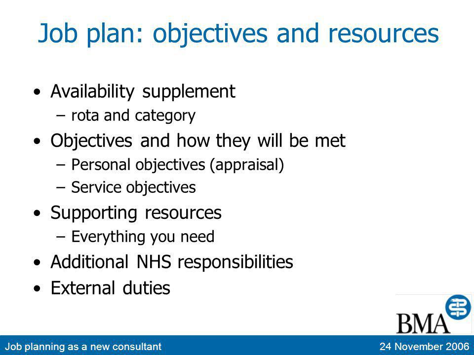Job planning as a new consultant24 November 2006 Job plan: objectives and resources Availability supplement –rota and category Objectives and how they will be met –Personal objectives (appraisal) –Service objectives Supporting resources –Everything you need Additional NHS responsibilities External duties