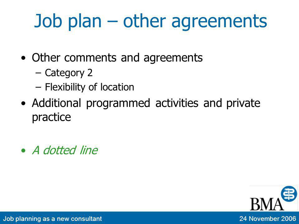 Job planning as a new consultant24 November 2006 Job plan – other agreements Other comments and agreements –Category 2 –Flexibility of location Additional programmed activities and private practice A dotted line