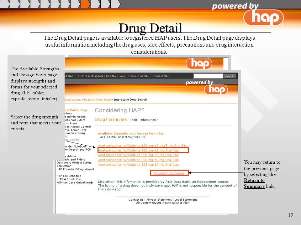 10 Drug Detail The Drug Detail page is available to registered HAP users.