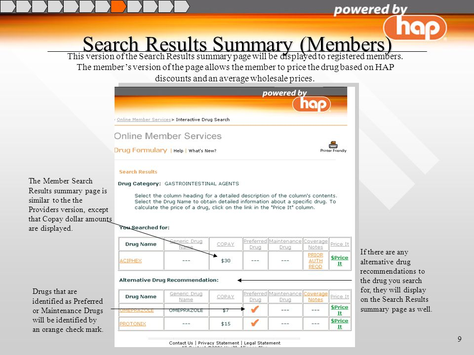 9 Search Results Summary (Members) This version of the Search Results summary page will be displayed to registered members.