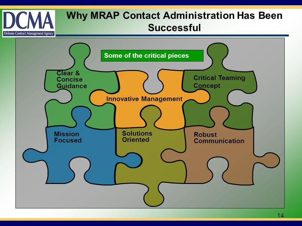 14 Why MRAP Contact Administration Has Been Successful Solutions Oriented Robust Communication Critical Teaming Concept Innovative Management Clear & Concise Guidance Mission Focused Some of the critical pieces