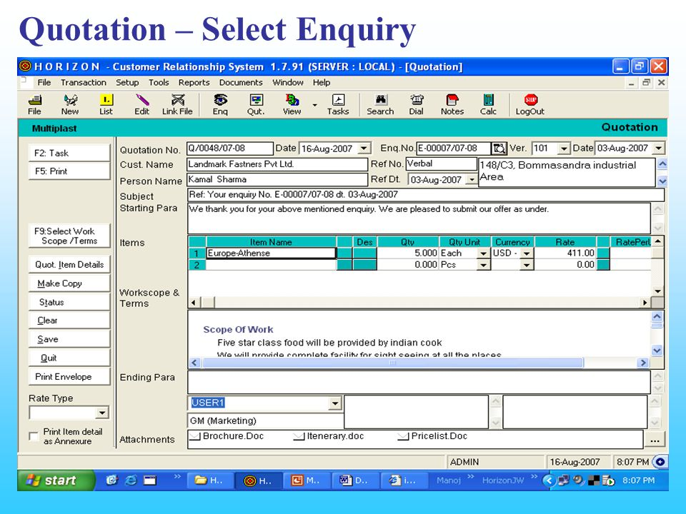 Quotation – Select Enquiry