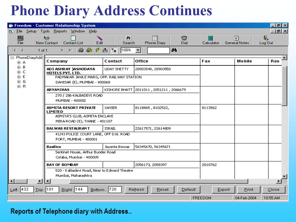 Phone Diary Address Continues Reports of Telephone diary with Address..