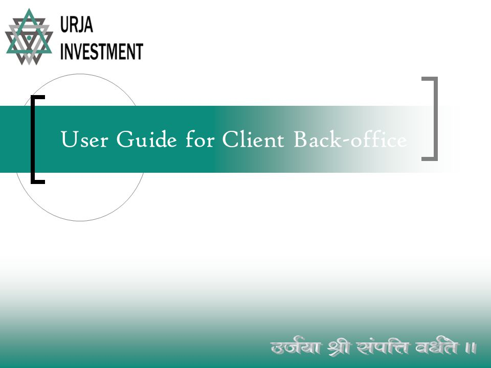 User Guide for Client Back-office