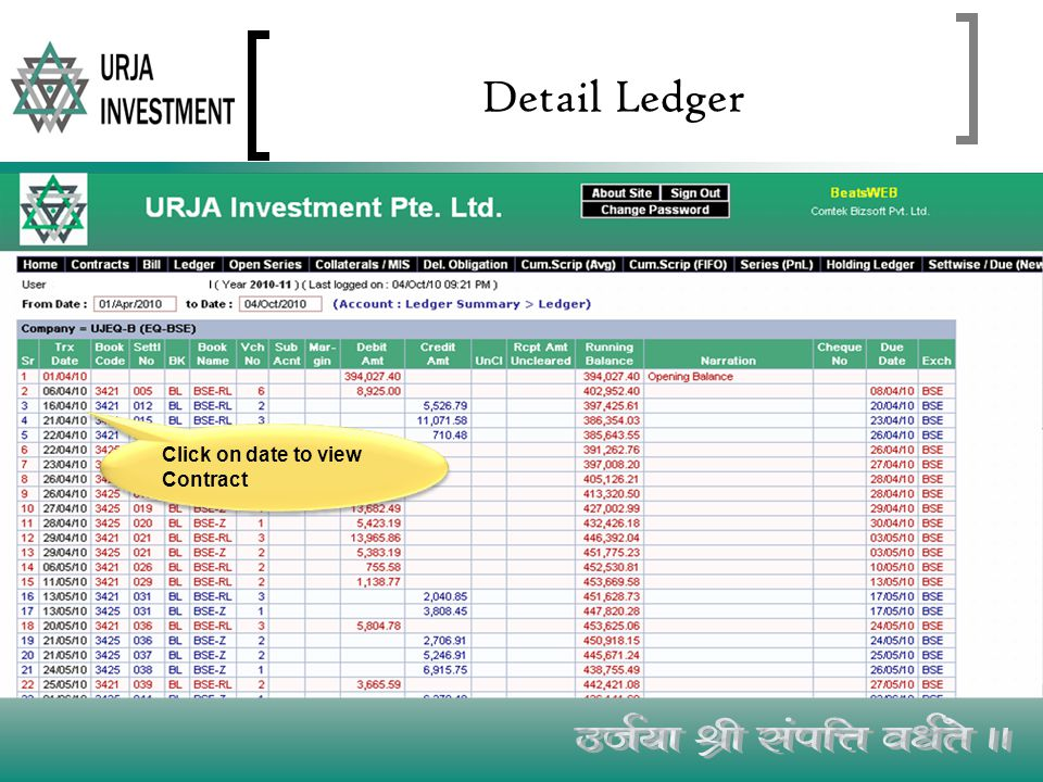 Detail Ledger Click on date to view Contract