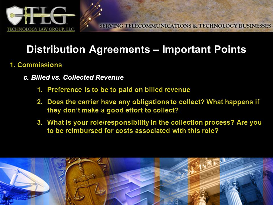 Distribution Agreements – Important Points 1. Commissions c.