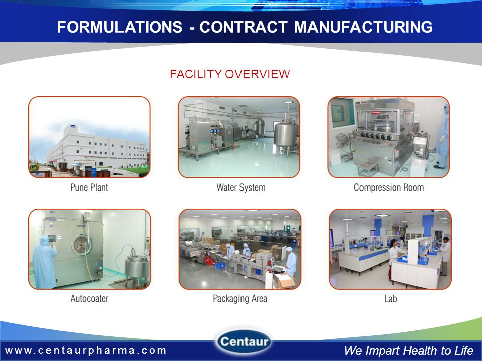 www.centaurpharma.com We Impart Health to Life FORMULATIONS - CONTRACT MANUFACTURING FACILITY OVERVIEW