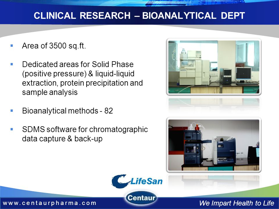 www.centaurpharma.com We Impart Health to Life CLINICAL RESEARCH – BIOANALYTICAL DEPT Area of 3500 sq.ft.