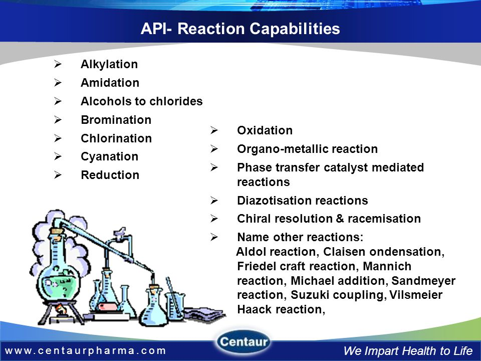 www.centaurpharma.com We Impart Health to Life API- Reaction Capabilities Alkylation Amidation Alcohols to chlorides Bromination Chlorination Cyanation Reduction Oxidation Organo-metallic reaction Phase transfer catalyst mediated reactions Diazotisation reactions Chiral resolution & racemisation Name other reactions: Aldol reaction, Claisen ondensation, Friedel craft reaction, Mannich reaction, Michael addition, Sandmeyer reaction, Suzuki coupling, Vilsmeier Haack reaction,