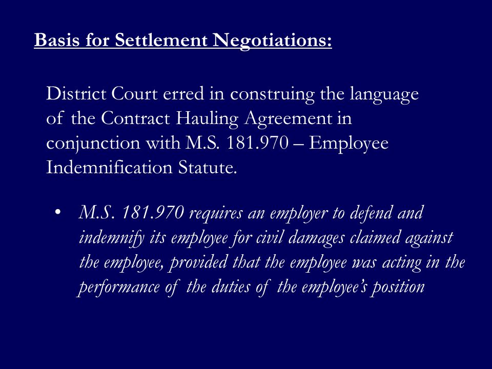Basis for Settlement Negotiations: M.S.
