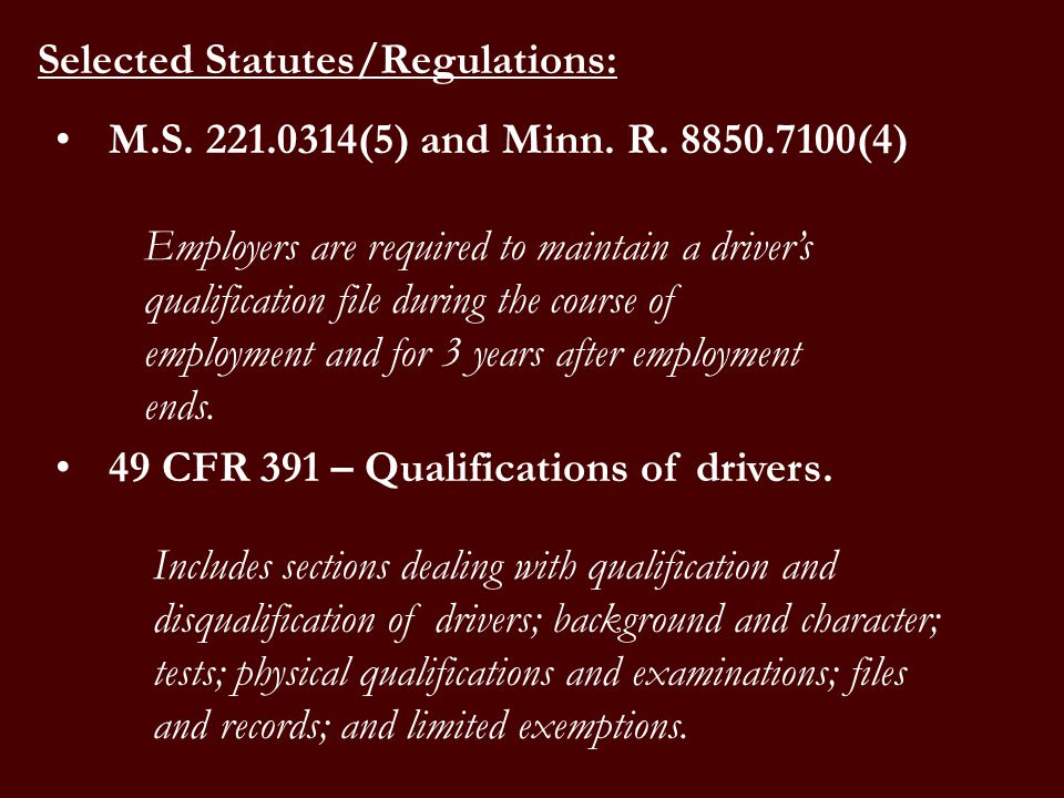 Selected Statutes/Regulations: M.S. 221.0314(5) and Minn.