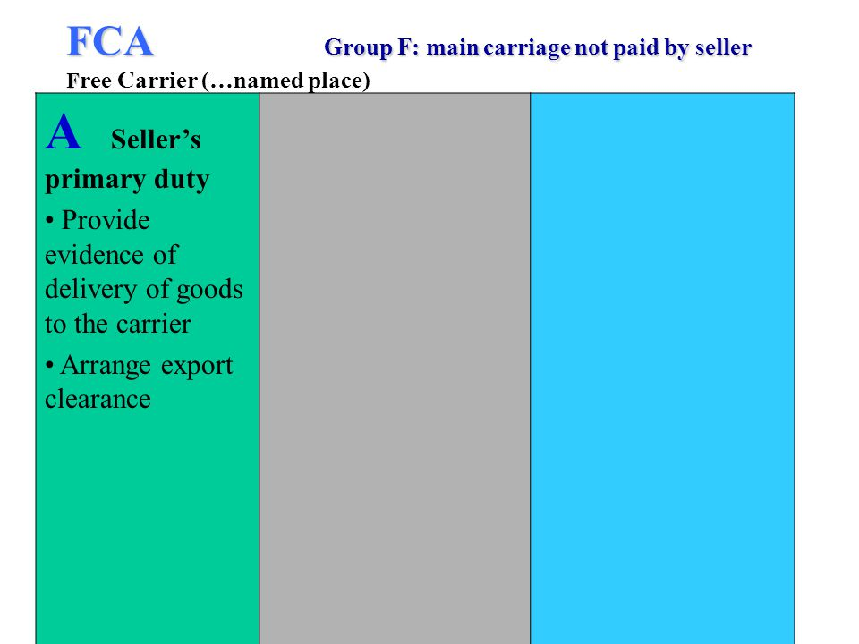 FCA Group F: main carriage not paid by seller F FCA Group F: main carriage not paid by seller F ree Carrier (…named place) A Sellers primary duty Provide evidence of delivery of goods to the carrier Arrange export clearance
