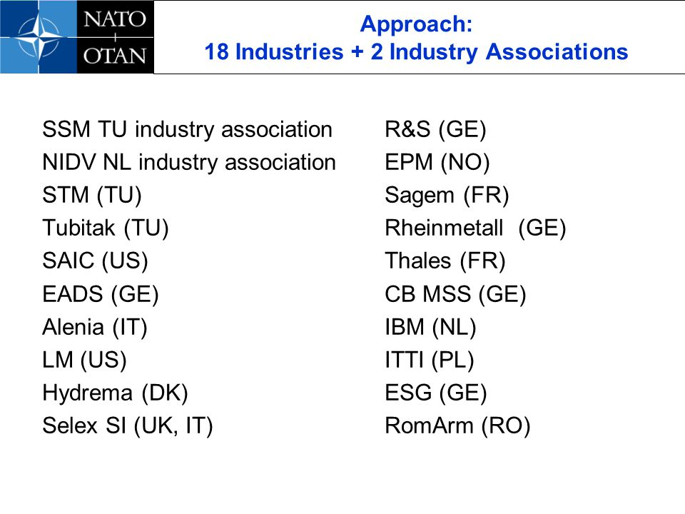 Approach: 18 Industries + 2 Industry Associations SSM TU industry associationR&S (GE) NIDV NL industry associationEPM (NO) STM (TU) Sagem (FR) Tubitak (TU) Rheinmetall (GE) SAIC (US)Thales (FR) EADS (GE)CB MSS (GE) Alenia (IT)IBM (NL) LM (US)ITTI (PL) Hydrema (DK)ESG (GE) Selex SI (UK, IT)RomArm (RO)