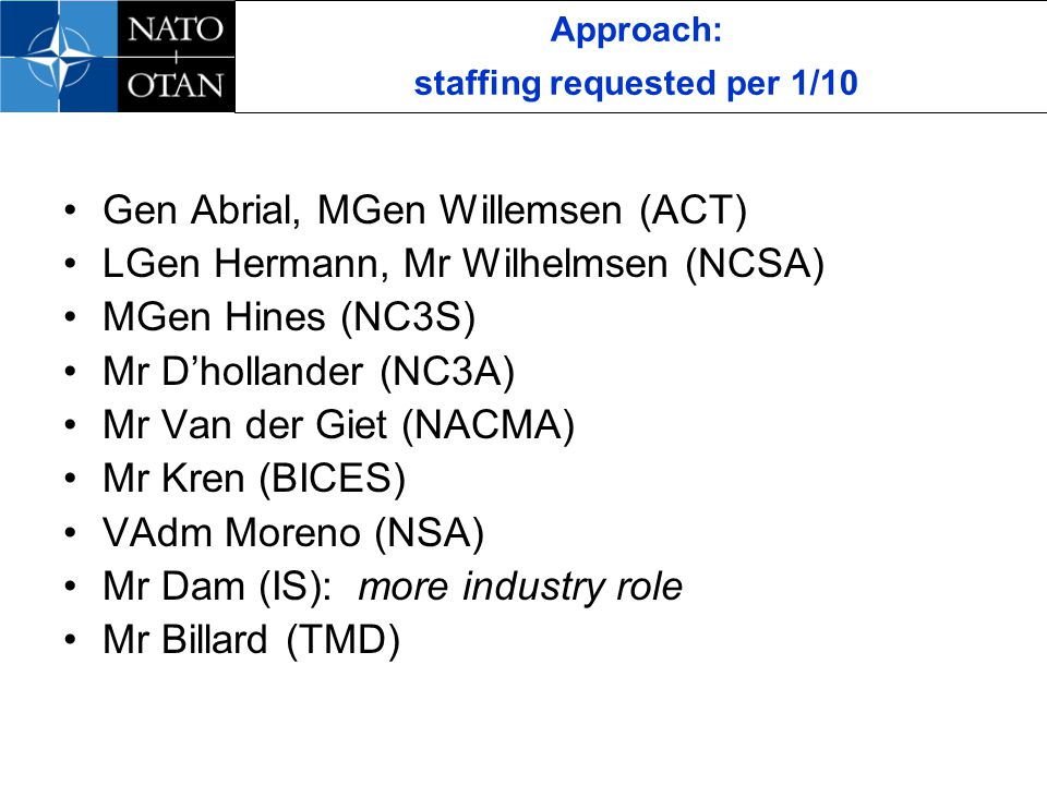 Approach: staffing requested per 1/10 Gen Abrial, MGen Willemsen (ACT) LGen Hermann, Mr Wilhelmsen (NCSA) MGen Hines (NC3S) Mr Dhollander (NC3A) Mr Van der Giet (NACMA) Mr Kren (BICES) VAdm Moreno (NSA) Mr Dam (IS): more industry role Mr Billard (TMD)