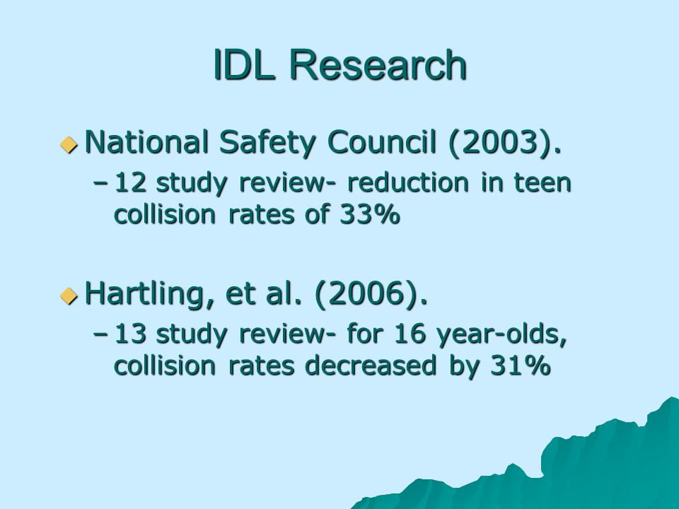 IDL Research National Safety Council (2003). National Safety Council (2003).